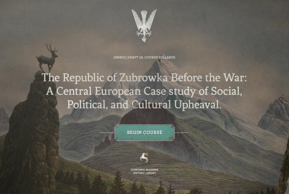 Screenshot of the website for the Republic of Zubrowka: http://www.akademiezubrowka.com/