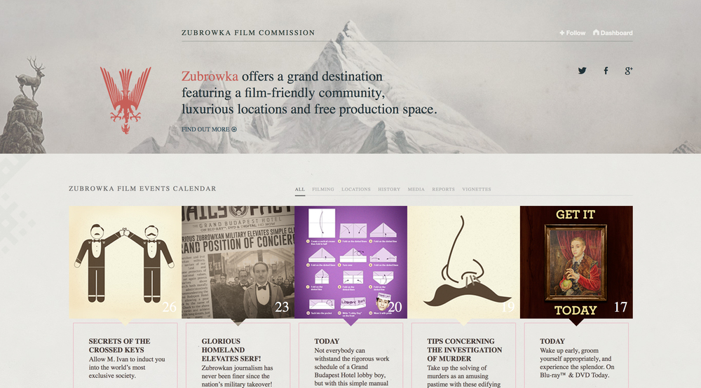Screenshot of the website for the Zubrowka Film Commission: http://zubrowkafilmcommission.tumblr.com/.