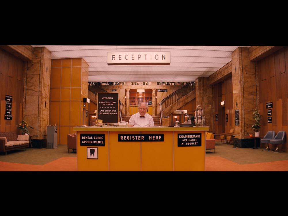 Screenshot of the lobby of the Grand Budapest Hotel during its decline in the 1960s - filmed in the Görlitz Warenhaus Department Store.