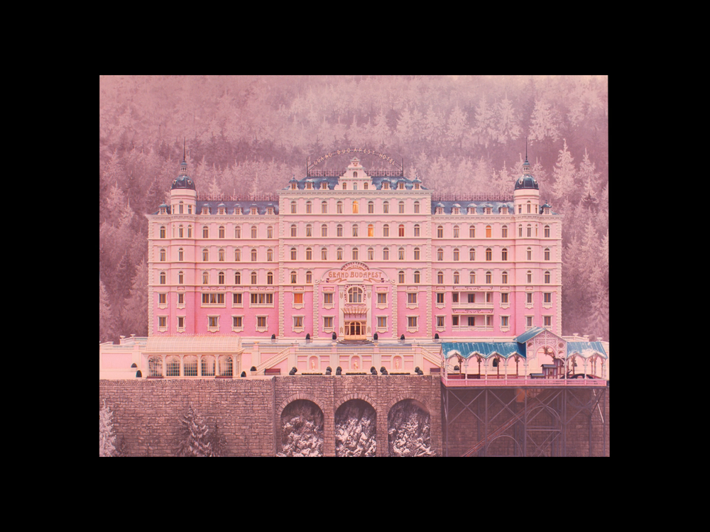 Screenshot from the movie of the miniature model of The Grand Budapest Hotel in the 1930's.