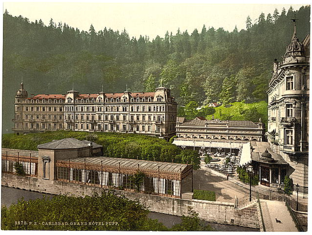 A photochrome print of the old Grandhotel Pupp in Carlsbad - image via  the Library of Congress .