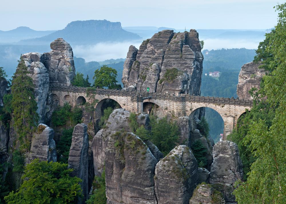 The Basteibrücke Bridge and viewing platform - image via  Wikipedia .