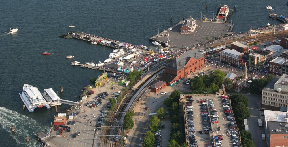 Aerial view of New London's waterfront area, by Union Station. Image via Google.