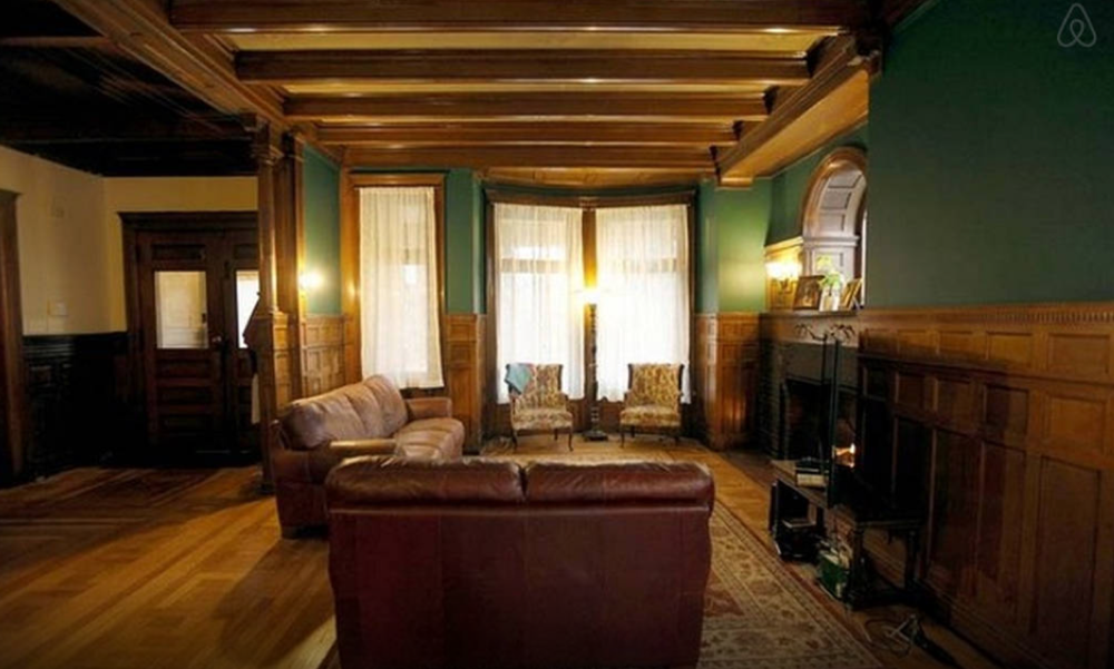 The foyer and living room area of 82 Alfred Street, where Only Lovers Left Alive was filmed. Image via Airbnb.com.