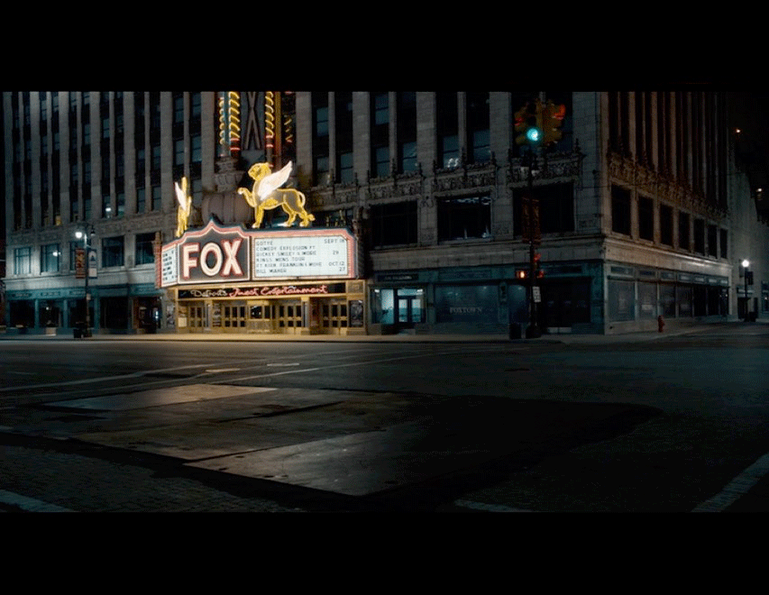 Screenshot from the movie of a night scene filmed in front of Detroit's Fox Theater.