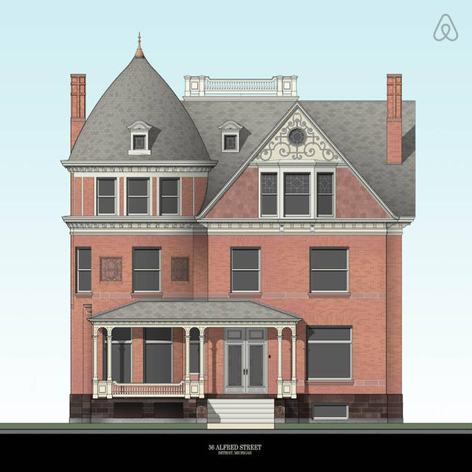 An architectural rendering of 82 Alfred Street (formerly 36 Alfred Street) by artist Eric Becker. The artist is a friend of Jeff Cowin, the current owner of the Queen Anne mansion. Image via  Airbnb.com .