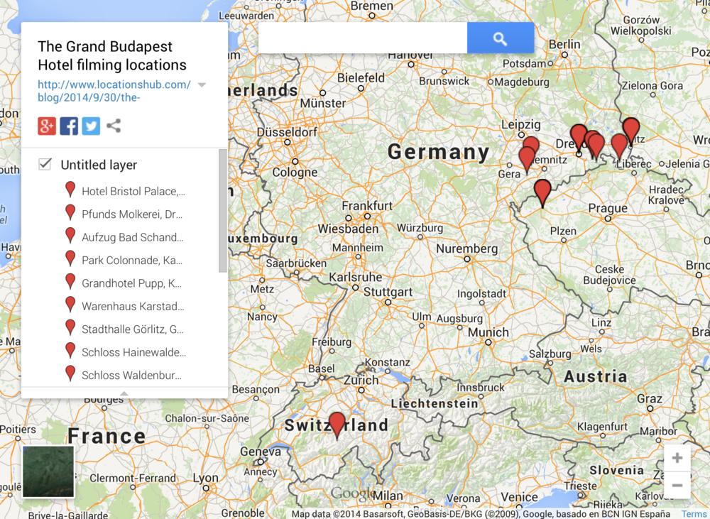 The film locations of The Grand Budapest Hotel