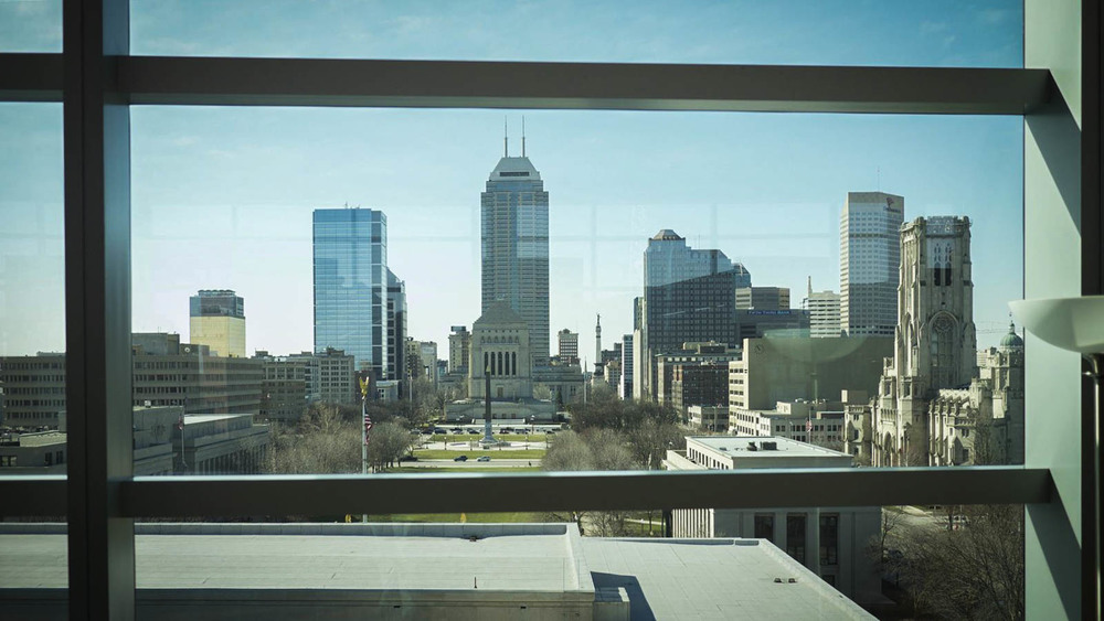 Fabulous views of the Indianapolis skyline from the Central Library - image via  LocationsHub.com .