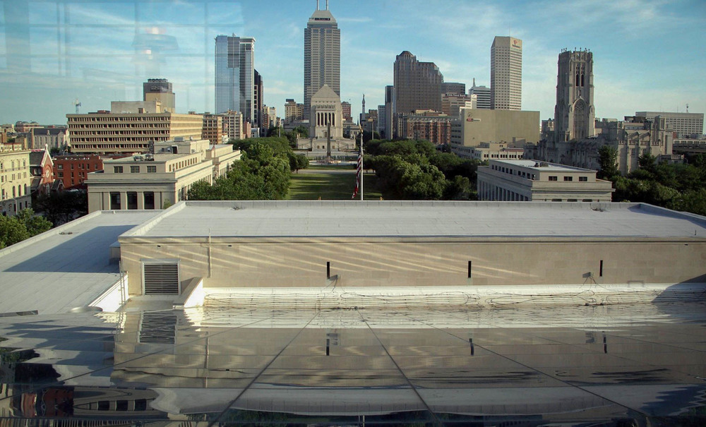 View of Indianapolis skyline from the Central Library  - image via   LocationsHub.com  .