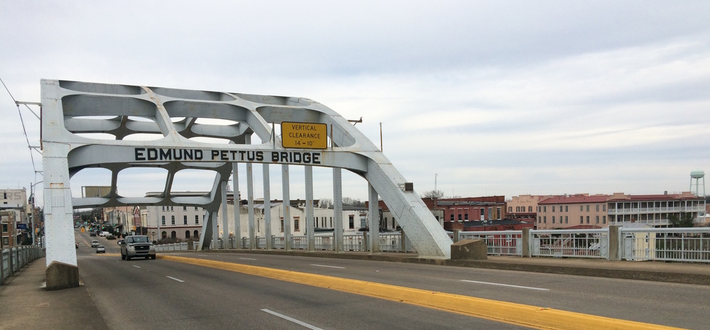 The historic Edmund Pettus Bridge, an important setting and film location for  Selma  - image via  Google .