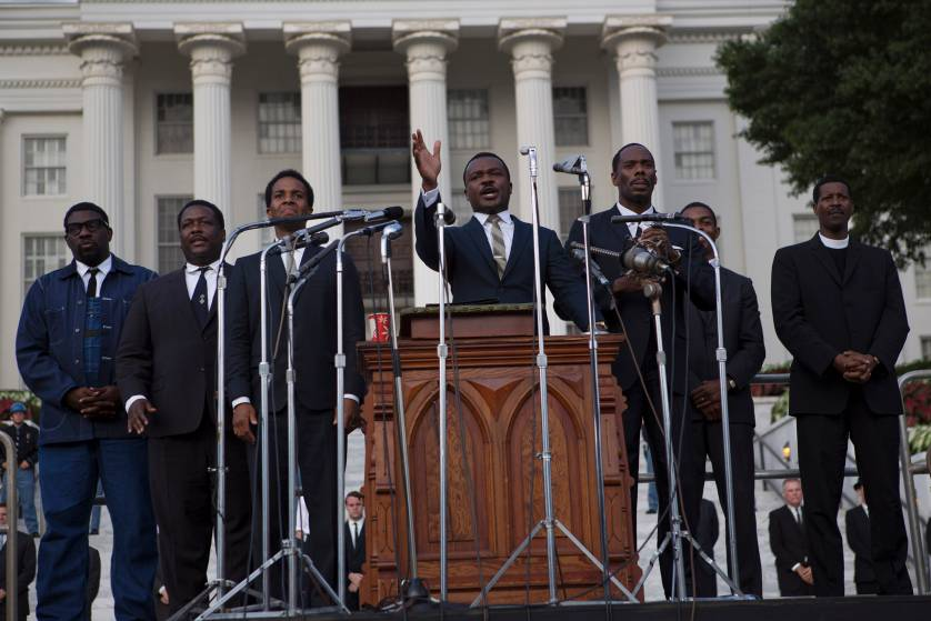 An on-the-set photo of a scene in  Selma  shot in front of the Alabama State Capitol building during Dr. Martin Luther King, Jr.'s speech (portrayed here by actor  David Oyelowo). Photo from   Time Magazine   by  photographer James Nachtwey.
