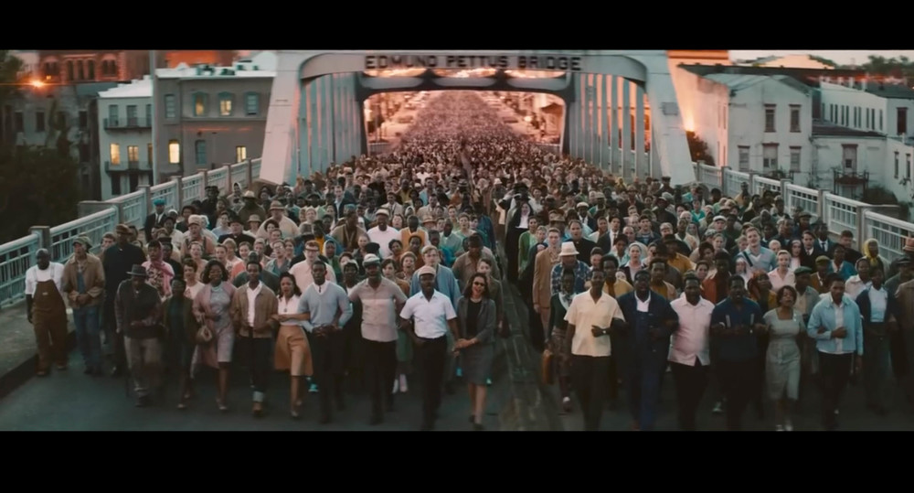 Screenshot from Selma of the second march scene filmed on location on the Edmund Pettus Bridge in Selma, Alabama.