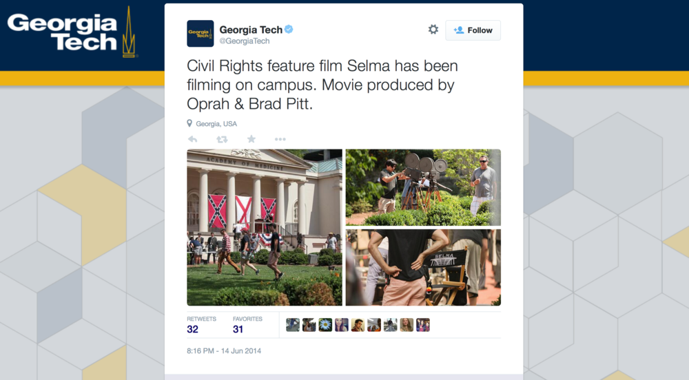 A  tweet from Georgia Tech  documenting the filming of  Selma  on campus on June 14, 2014.