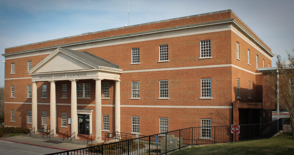 The Rockdale County Courthouse is one of the film locations for Selma - image via Google.