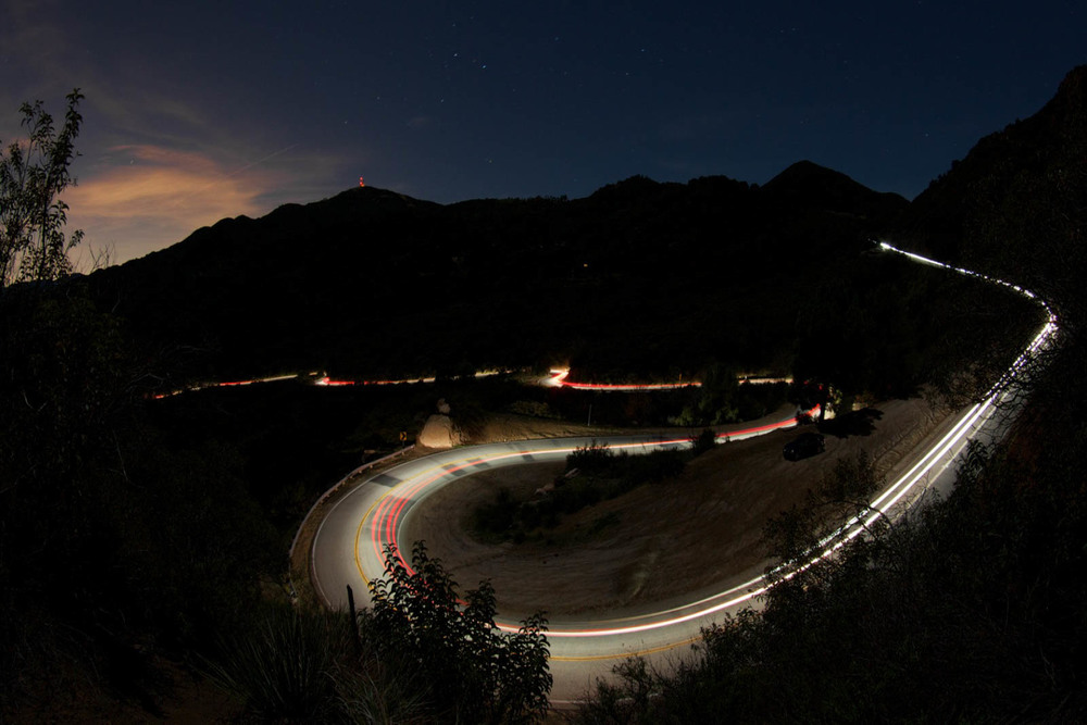 An aerial view of Mulholland Drive at night - image via Google.