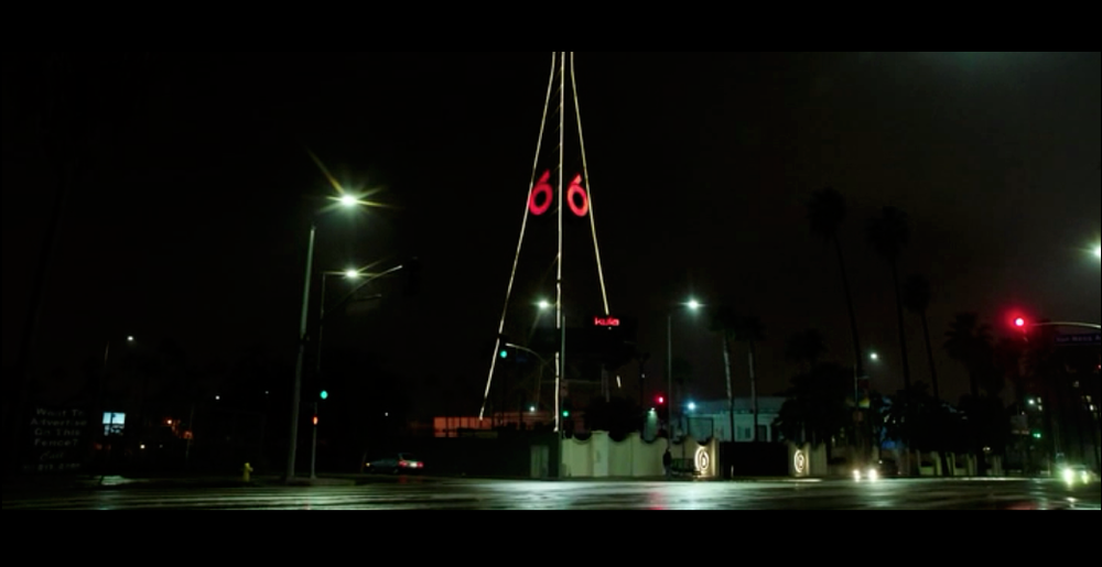 Screenshot from Nightcrawler of the establishing shot for KWLA-6 Studios, where Nina works. In real life this location belongs to KTLA Studios on Sunset Boulevard.