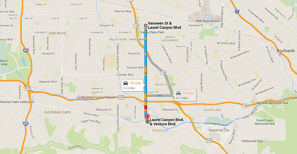 The 10 blocks on Laurel Canyon Boulevard where Nightcrawler was filmed. Map via Google.