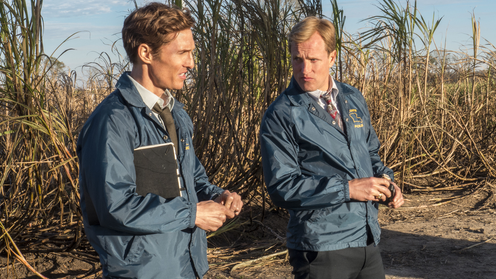 Matthew McConaughey and Woody Harrelson in  True Detective , filmed in Lousiana - image via  Google .