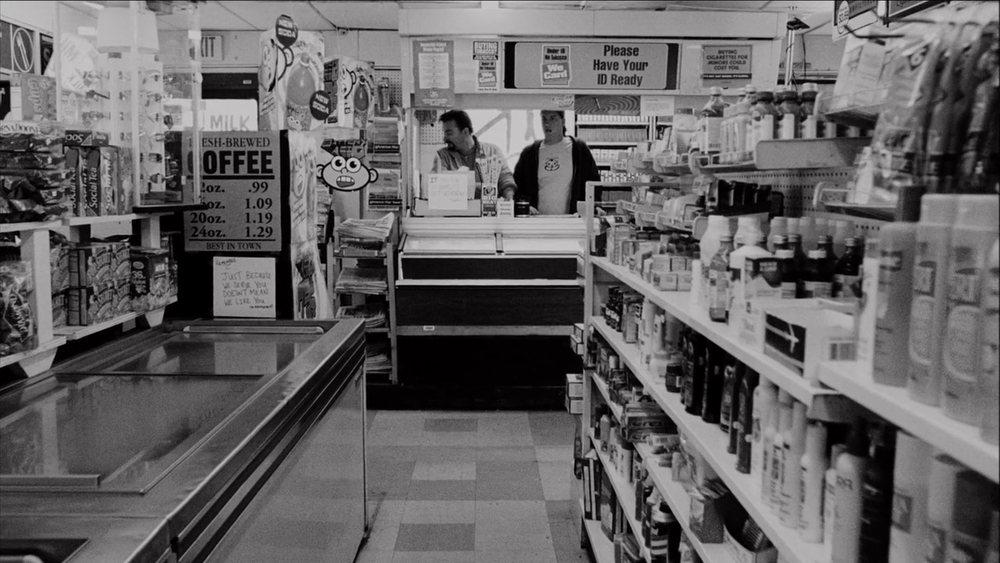 A scene from  Clerks  filmed on location at the Quick Stop convenience store in Leonardo, New Jersey where director Kevin Smith held his day job   - image via  Google .