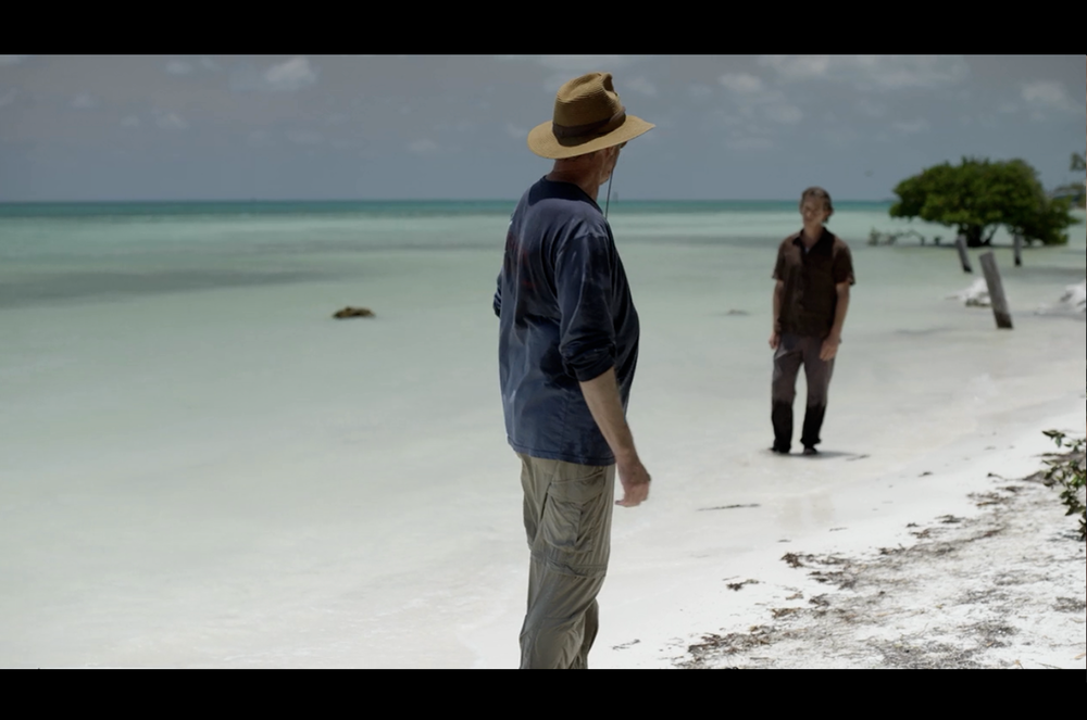 Screenshot from Bloodline featuring Sam Shepard, Ben Mendelsohn, and the color of the water. Any wonder it feels like Bloodline is a family drama/noir set in paradise?
