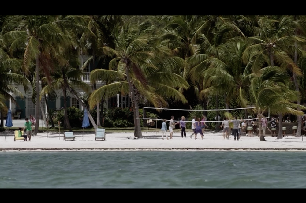 Screenshot from Bloodline's pilot episode filmed on location on the white sandy beach at the Moorings Village & Spa.