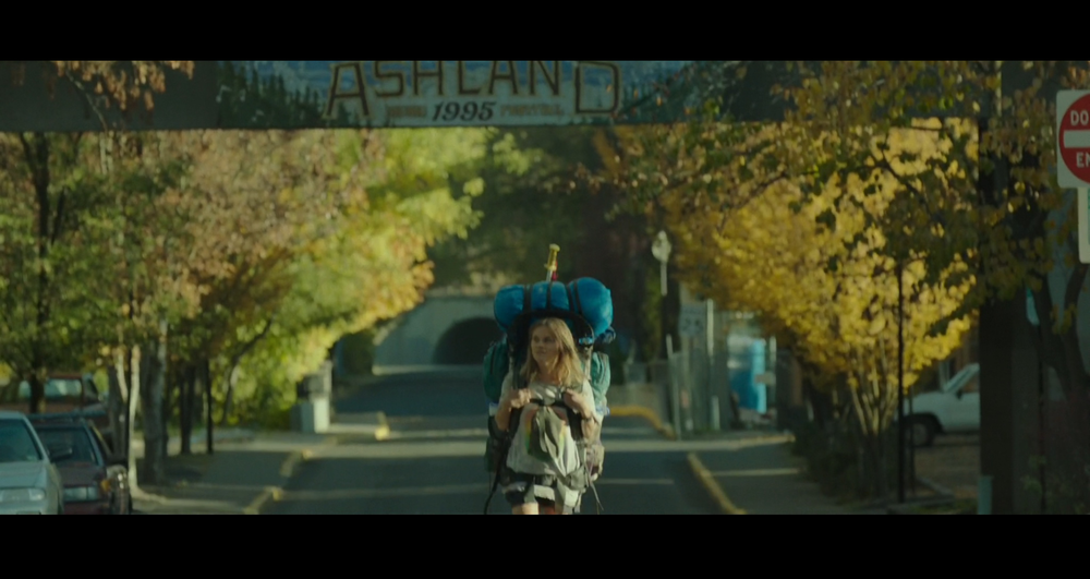 Screenshot of Cheryl arriving in Ashland, Oregon - filmed on location in Ashland, Oregon.