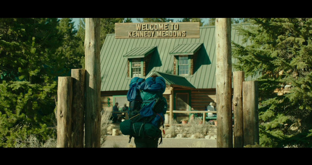 Screenshot of Cheryl arriving at Kennedy Meadows - filmed on location at Paulina Lake Lodge, Oregon.