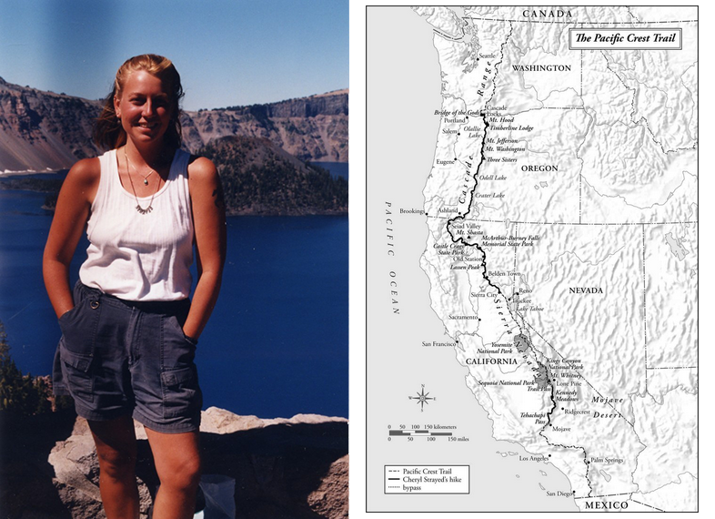 Cheryl Strayed on her PCT hike in 1995 (left) and a map of her hike's route (right) as printed in the book. Photo of Cheryl Strayed via Google.
