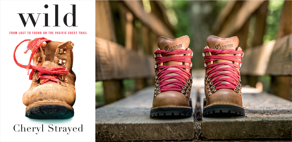 Cover of Cheryl Strayed's book Wild: From Lost To Found On The Pacific Crest Trail (left) and the new Wild boots, made by Danner, a Portland company (right) - photo via Danner.