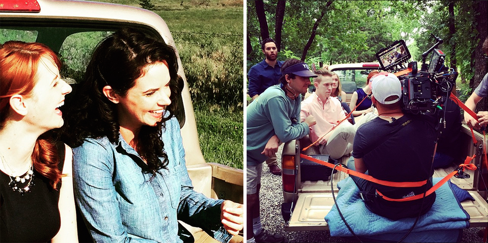 Laura Spencer  (left) and  Velinda Godfrey  (right) on the set of  Heartland  (first photo). Cinematographer  Michael Dallatorre  securely roped to the truck so he could film a scene in a moving car (second photo). Both photos are from  Heartland's Instagram .