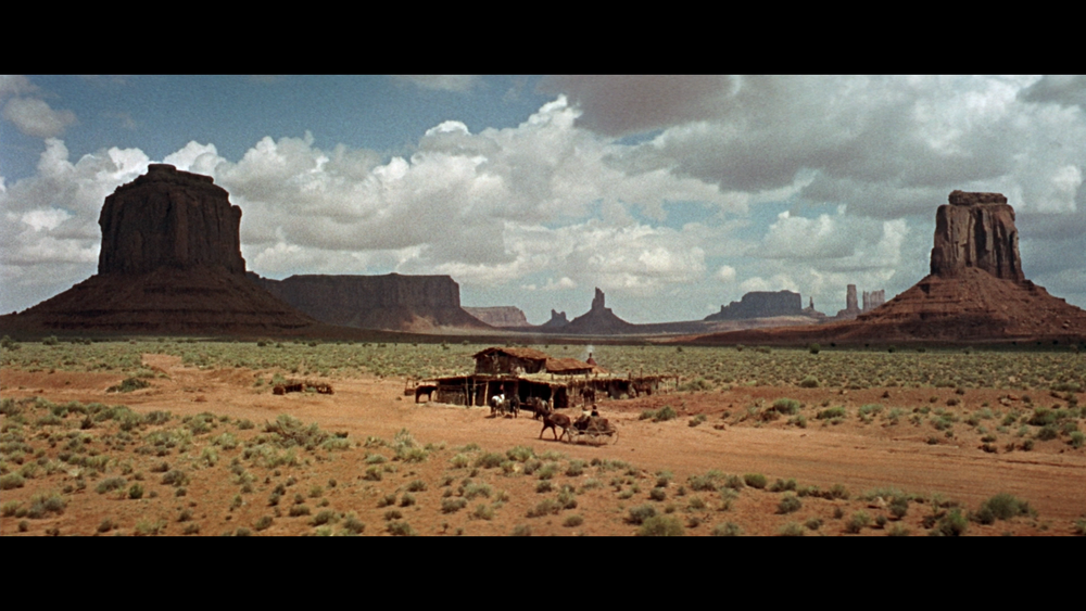 Screenshot from  Once Upon a Time in the West  (1968), filmed at Monument Valley.