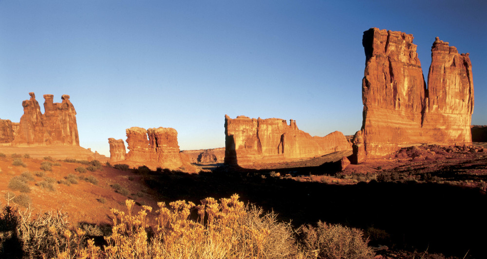 The Courthouse Towers in the Moab area - an iconic film location as featured in  Thelma & Louise . Image via  Google .