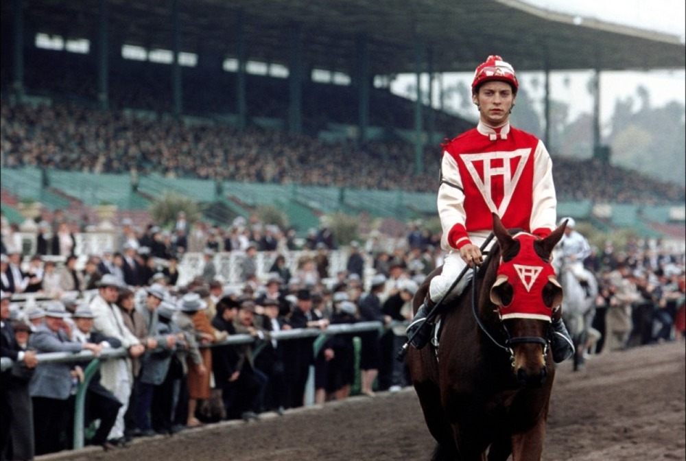 Production still of Seabiscuit, filmed at Keeneland Race Track in Kentucky - image via Google.