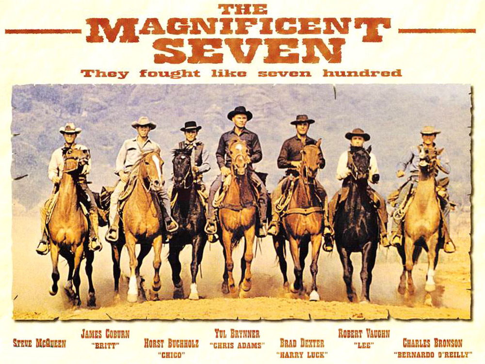 Poster of the 1960 remake of Seven Samurai titled The Magnificent Seven - image via Google.