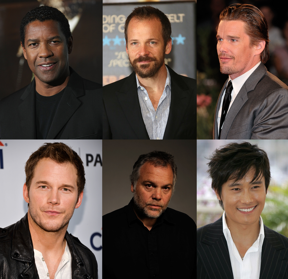 Among the A-list cast of  The Magnificent Seven  are Denzel Washington, Peter Sarsgaard, Ethan Hawke, Chris Pratt, Vincent D'Onofrio, and Byung-hun Lee - images via Google.