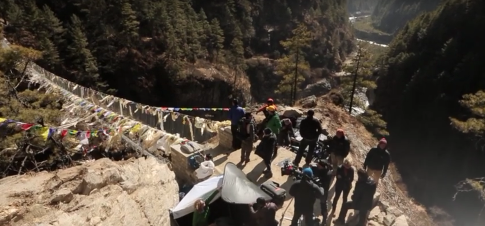 Behind-the-scene during the filming at Everest's suspension bridge - screenshot via YouTube.