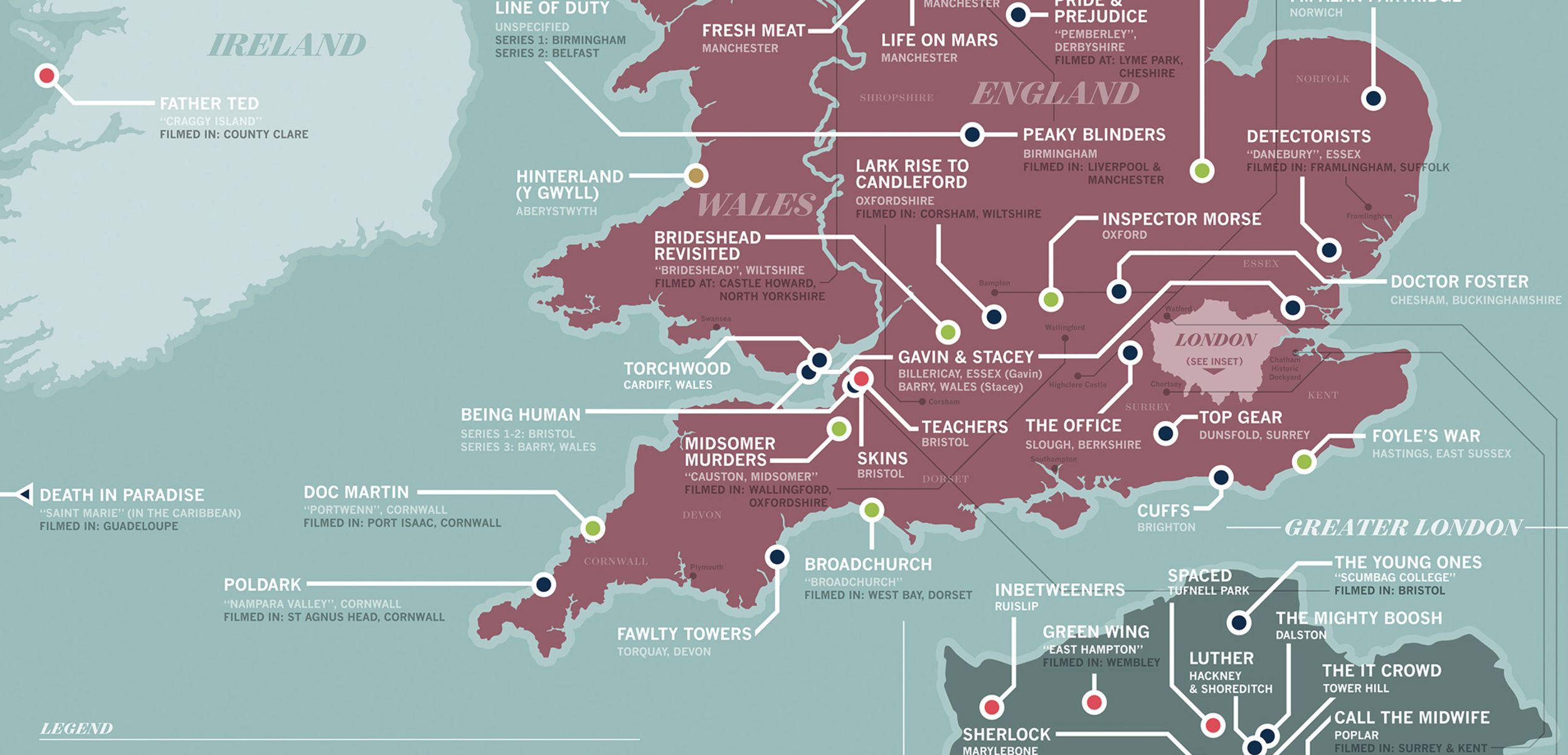 The Great British Television Film Location Map By Graphic Designer
