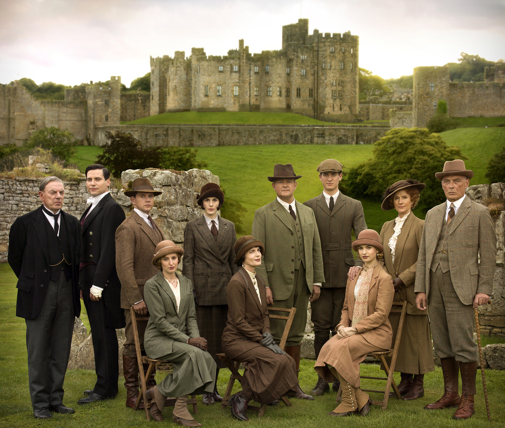 The cast of  Downton Abbey  on location at Highclere Castle - image via  Google .