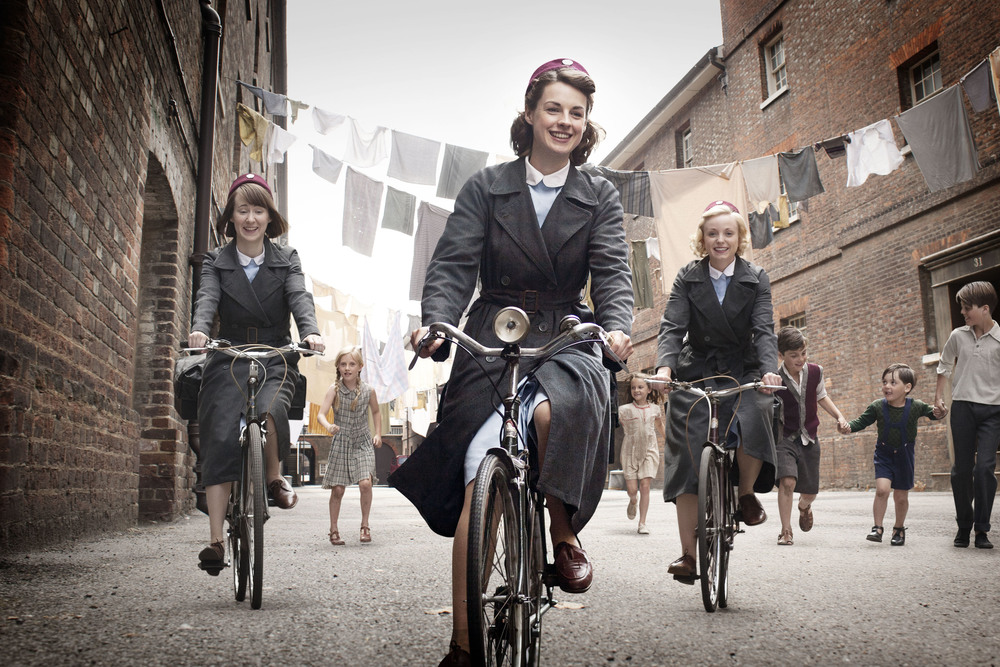 Production still from  Call The Midwife , filmed in Surrey and Kent - image via  Google .