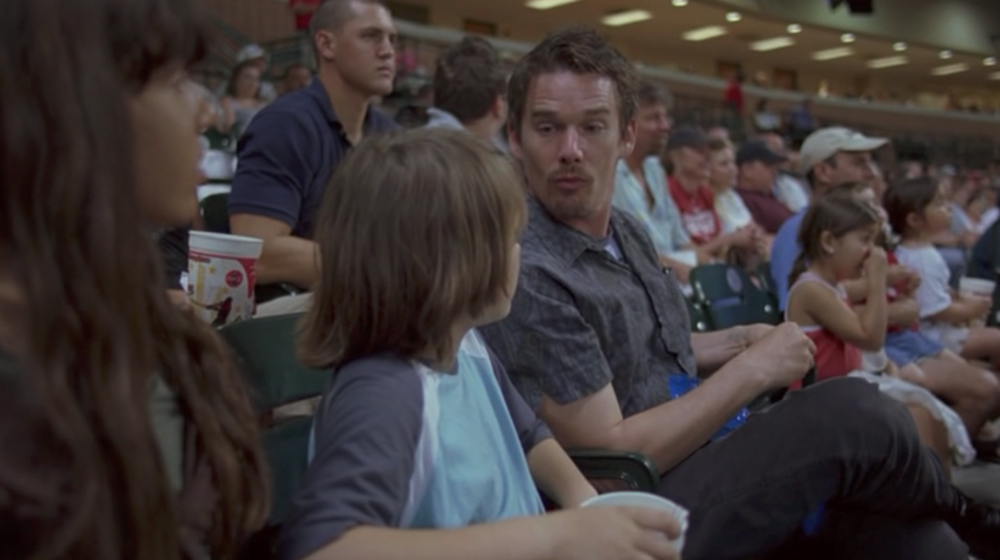 Screenshot from Boyhood of a scene filmed at Minute Maid Park during a live baseball game.