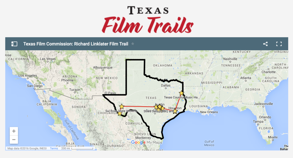 The map of the Richard Linklater Texas Film Trail, launched by the Texas Film Commission.