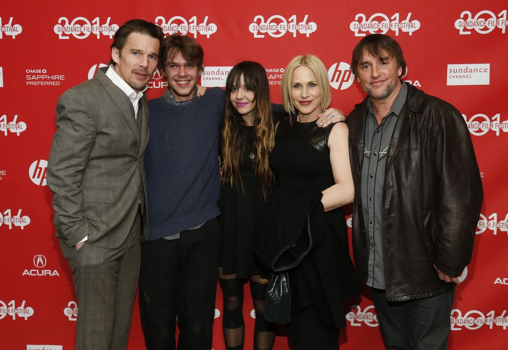 Richard Linklater and the main cast of Boyhood, from left to right: Ethan Hawke, Ellar Coltrane, Lorelei Linklater, Patricia Arquette, and the director himself. (Image via  Google .)