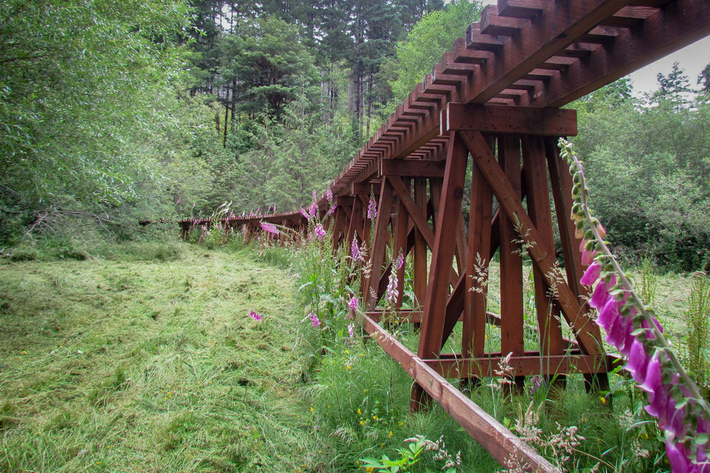 The old train trestle of Deadwood Ranch & Lodge.