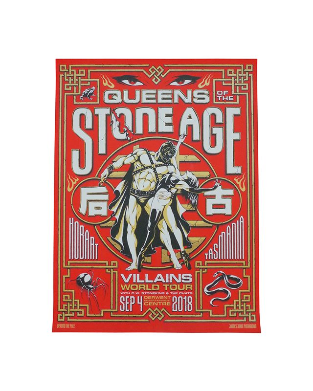 18x24 5 colors  On White  @queensofthestoneage Artist : @jamesjirat James Jirat Patradoon  #queensofthestoneage #jamesjirat #qotsa #seizurepalace #screenprinting #artprint #screenprinted #posters #portland #worldtour #gigposter