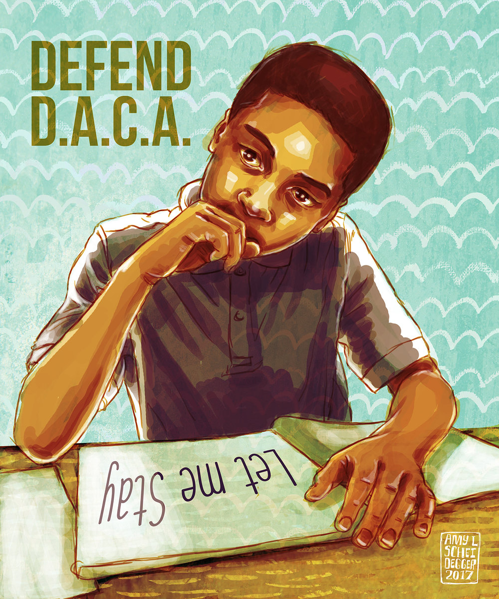 Let Me Stay - Defending DACA  It makes NO sense to expel talented, driven, patriotic young people from the only country they've ever known solely based on the actions of their parents. Many have no idea they're undocumented until they apply for a job, or college, or a driver's license. Where are we supposed to send these kids and young adults? To countries they don't know or remember? Countries their parents fled because of war or violence? Call your senators and urge them to DEFEND DACA  Digital Illustration. Created September, 2017
