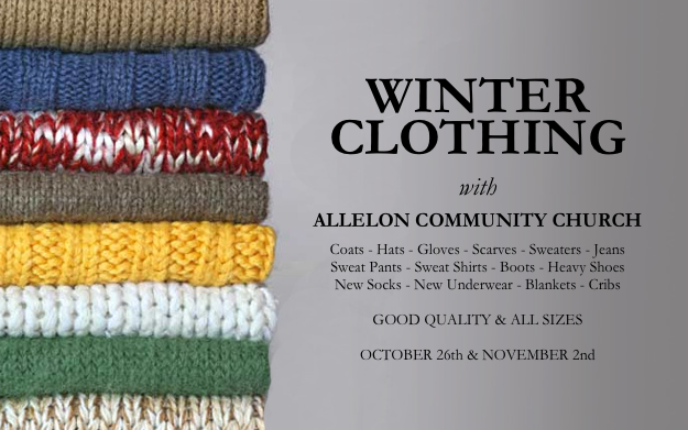 This month we are joining our friends at Allelon Community Church as they distribute clothing to those in need. Please bring any good quality items to the Gathering on 10/26 or 11/2. Contact Mollie McGeever with any questions.
