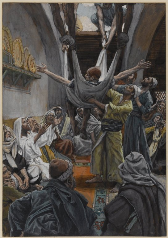 James Tissot,The Palsied Man Let Down through the Roof,1896