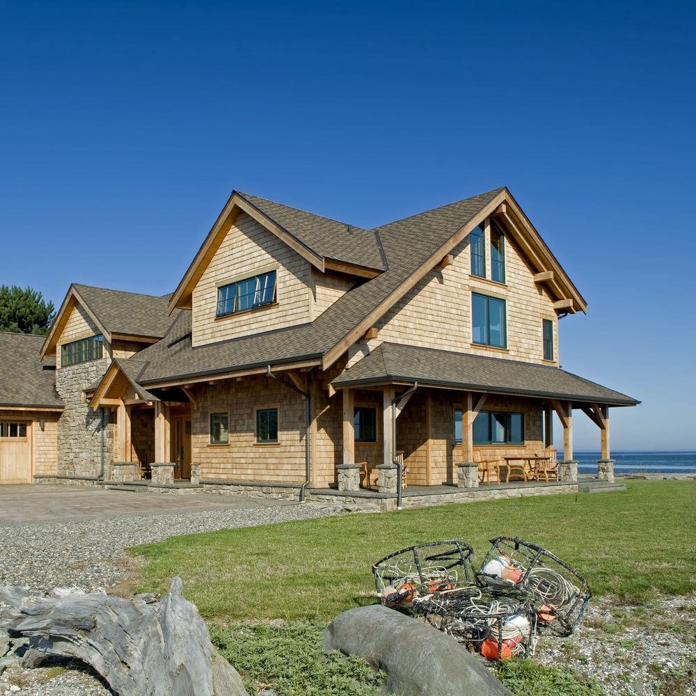 Oceanfront Timber Frame Home on Samish Island, Washington