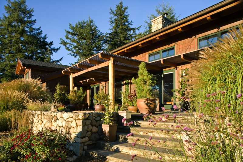 San Juan Island Timber Frame Home - Front Steps