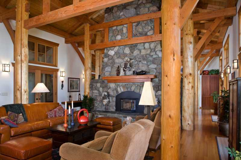 San Juan Island Timber Frame Home - Post and Beam Interior 2